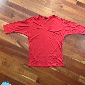Red Drop Shoulder Shirt w/ Button Shoulder Detail